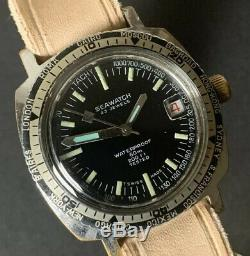 Rare Vintage Gents Diver Watch SEAWATCH 23 Jewels Calendar Swiss Made