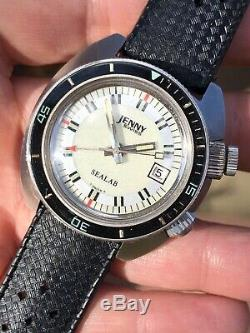 Rare Vintage Jenny Sealab Diver Alarm Mens Watch 39mm Swiss Made Cal. AS 1931