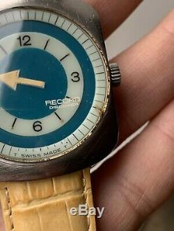 Rare Vintage Record Discover Longines Comet Mens Watch 34,8mm Swiss