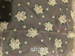 Rare Vintage Sheer Flocked Dotted Swiss Fabric Floral Daisy Chiffon Swiss Fabric