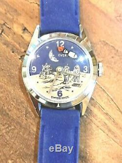 Rare Vintage Swiss Evertime Moon Landing Space Watch In Vintage Cadillac Box
