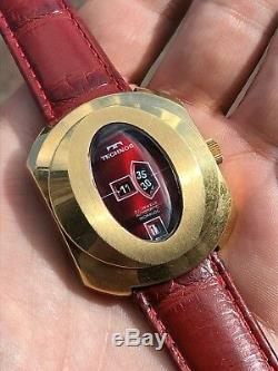 Rare Vintage Technos Oversized Tenor Dorly Jump Hour Automatic Mens Watch Swiss