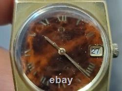 Rare Vintage Zodiac Corsair Wooden Dial Gold Tone Swiss Automatic Wrist Watch