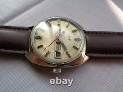 Rare Vtg Swiss Ss Enicar Ocean Pearl Cream Dial Automatic Gents Wristwatch