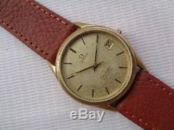Rare Vtg Used Gold Plated Swiss Omega Seamaster Date Mens Automatic Wrist Watch