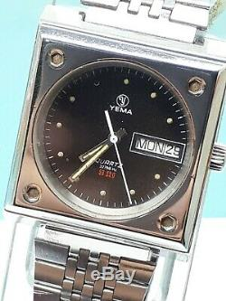 SUPER RARE YEMA 32768 Hz QUARTZ WRIST WATCH MENS DAY DATE SWISS VINTAGE SS