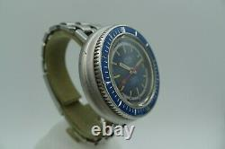 Silver Extra Swiss Made Vintage Diver Retro Steel Jumbo 43mm Rare 150m