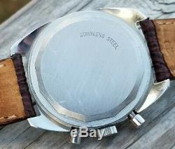Super RARE 1969 Benrus Blue Dial Chronograph Swiss Valjoux 7733 Overhauled A+