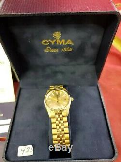 Swiss Watch CYMA Date vtg 90s 1/40 10k Gold Overlay New Rare jewels (jl)