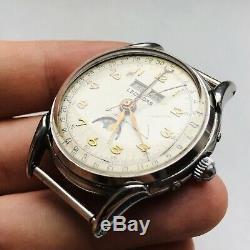 ULTRA RARE LEONIDAS TRIPLE CALENDAR MOON PHASES Swiss Wrist Watch Vintage Luxury