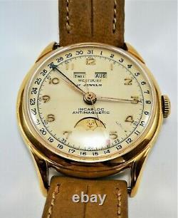 Ultra Rare Vintage Swiss Watch Westbury Callendar + Moon Phase Circa 1938