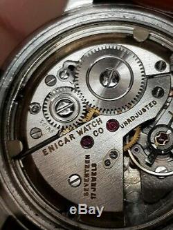 VINTAGE ENICAR MEN WATCH 17 JEWEL'S Rare SWISS made 34mm
