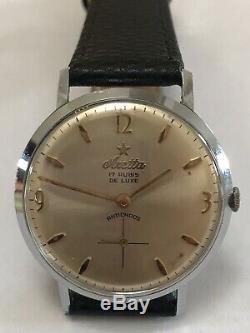 Very Rare Vintage Swiss ARETTA De Luxe 17J Men's Dress Watch 1960's Works Great