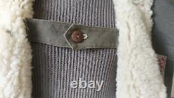 Vintage 1940s WW2 Swiss Sheepskin Canvas Coat/O. S. B Militar Utrustningar rare