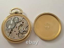 Vintage 1950 Harper Swiss Railway 10CT Rolled Gold 16s Pocket Watch VGC Rare