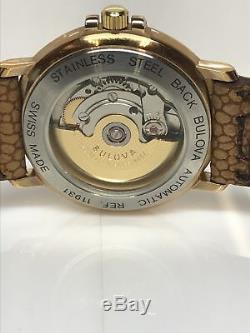 Vintage Bulova Commander Men's Swiss Made Automatic Watch Gold Tone RARE NEW