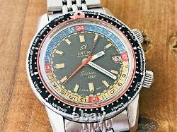 Vintage Enicar Sherpa Guide 600 GMT very Rare pattern Red Marks Swiss Watch