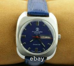 Vintage Favre Leuba Blue Automatic Swiss Men's Working Wrist Watch Rare