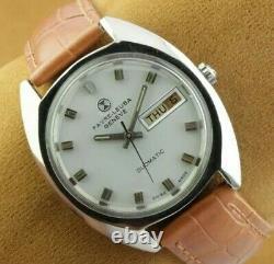 Vintage Favre Leuba White Automatic Swiss Men's Working Wrist Watch Rare. 35mm