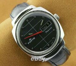 Vintage Fortis Trueline Black Automatic Swiss Men's Working Wrist Watch Rare