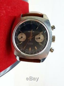 Vintage Kelek Chronograph Valjoux 7733 Perfect Condition Swiss Mens Rare Dial