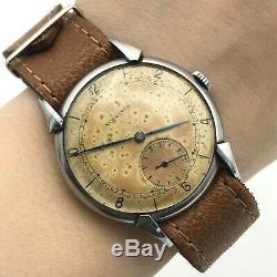 Vintage LONGINES Calatrava 1940s Retro Swiss Watch Stainless Steel Rare Original