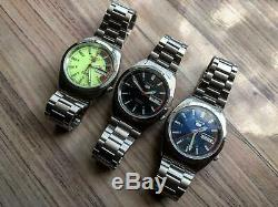 Vintage LOT OF 3X RARE SEIKO 5 AUTO 21J GENTS WATCHES SWISS MADE