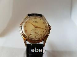 Vintage RARE 1940's WWII Era OVERSIZED 35 MM Gents Swiss Made Technos 21 Jewels