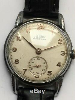 Vintage RARE MEN DELBANA ANCRE 15 RUBIS SWISS MADE FREE SHIPPING COLLECTION WW2