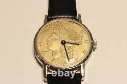 Vintage Rare Collectible Men's Swiss Watch Lucerne With Liberty USA Coin Dial