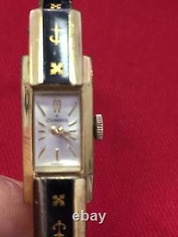 Vintage Rare Lady Plague 10 Microns Consul Swiss Windup Watch Black Enamel Cuff