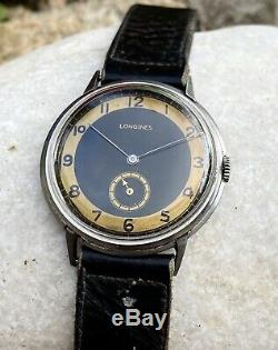 Vintage Rare Longines Jent's Military Swiss Art Deco Watch 15j Hand Winding