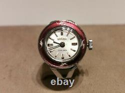 Vintage Rare Swiss Beautiful Enamel Mechanical Ladies Ring Watch Dogma 17j