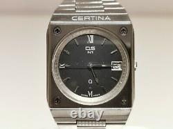 Vintage Rare Swiss Men's All Mat Stainless Steel Quartz Watch Certina Ds N1