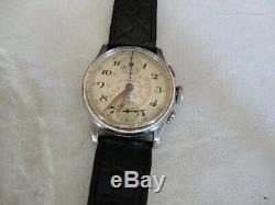Vintage Rare Wwii Chronograph Croton Cal, 350 406,17j, Swiss Made 1940's