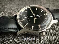 Vintage Roamer SeaRock Gents Manual Wind Watch, Rare, Swiss Black DIAL