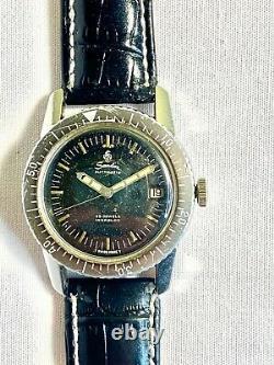 Vintage Sandoz Diver Automatic Black Rotate Bezel Watch Date Men's Swiss Rare