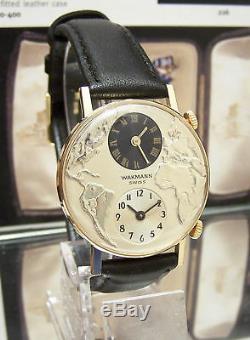 Vintage Super Rare 60's Wakmann Swiss Dual / Twin World Time Zone Watch Minty