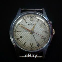 Vintage VULCAIN cricket wrist alarm cal. 120 rare guilloche dial swiss made rare