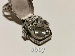 Vintage Ww2 Rare Swiss Silver Mechanical Ladies Watch Ring Ormo With Stones
