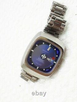 Vintage Zodiac Automatic Mystery Blue Dial Rare Watch Swiss Ladies Date S Steel