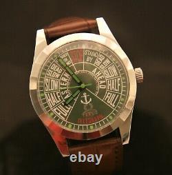 Vintage rare, serviced Titus Swiss 17J maritime telegraph green dial wristwatch