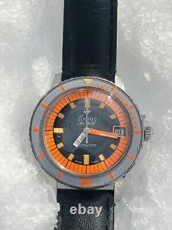 WOW Rare Vintage ZODIAC Sea Wolf Diver ORANGE 20 ATM Automatic Swiss Men Watch
