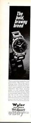 WYLER Incaflex TRI-SPORT DIVER Mens 24HR WATCH VTG Sub SWISS 1976-1162D RARE HTF