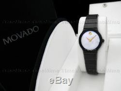 Women Movado SAPPHIRE PVD Ceramic White MOP Pearl Dial Vintage Swiss Watch RARE