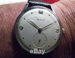 Zenith Rare Vintage'40 Big Case S. Steel Back Manual Wind Swiss