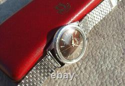 Zenith Watch Vintage Rare Gilt Dial Tropical Brown Bumper Cal 133 Swiss Oversize